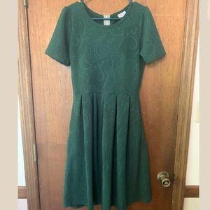 Lularoe Amelia Green Textured Fit & Flare Dress